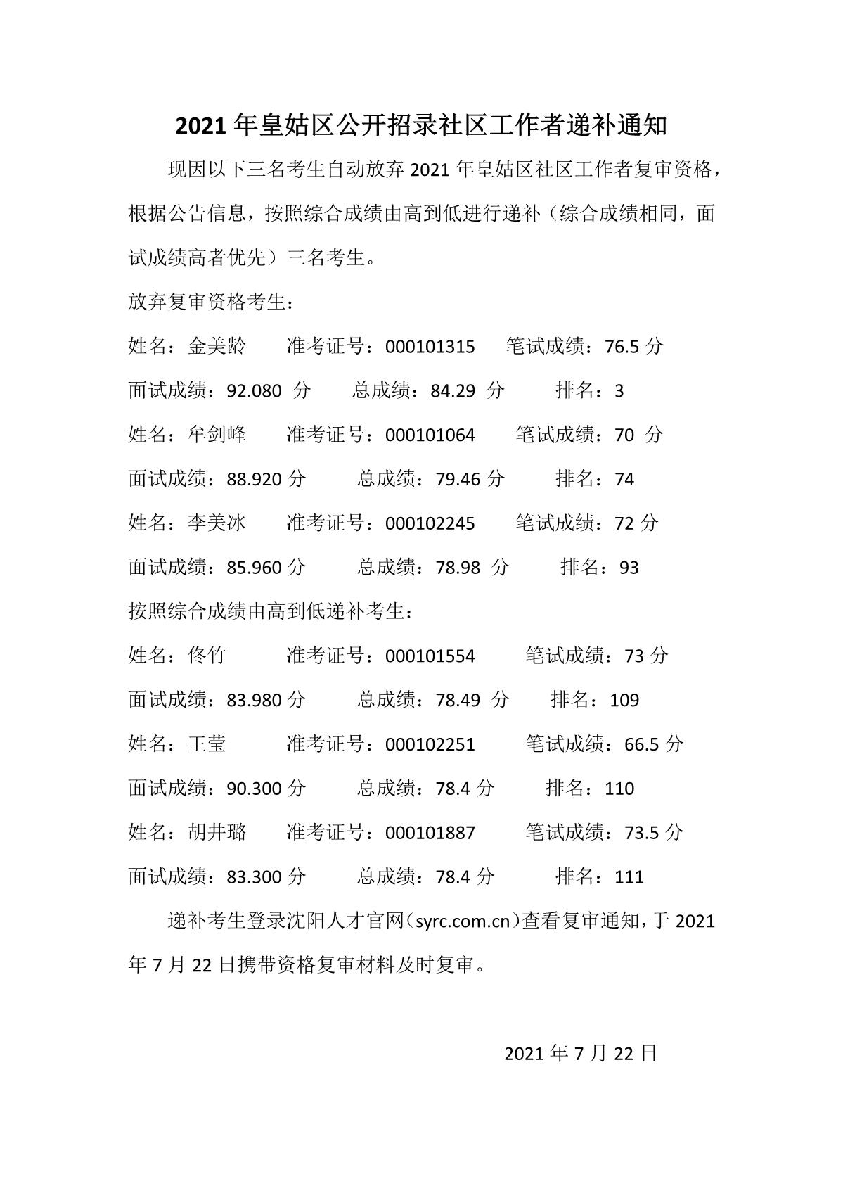 2021年皇姑区公开招录社区工作者递补通知