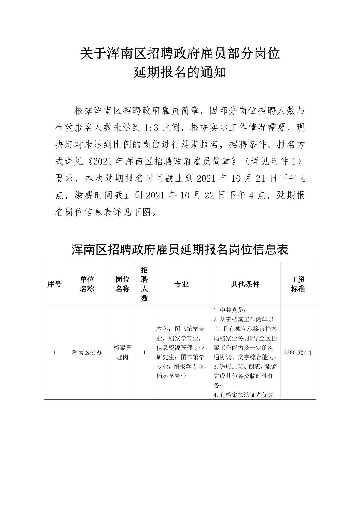 关于浑南区招聘政府雇员部分岗位 延期报名的通知